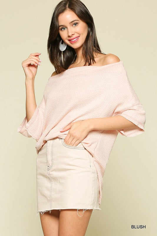 Off Shoulder Waffle Tunic Top - 2 Colors