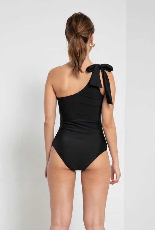Black One Shoulder Tie One Piece