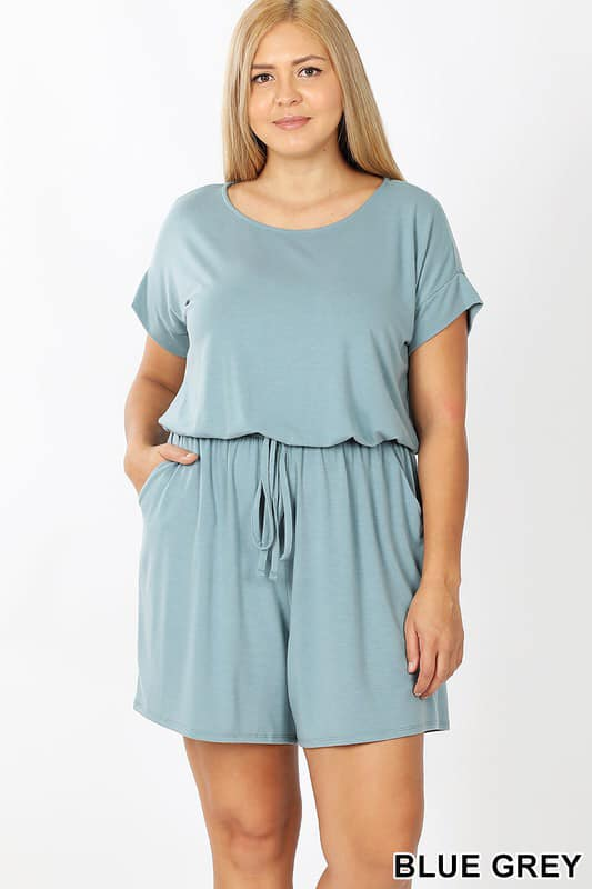 Plus - Short Sleeve Romper - 2 Colors