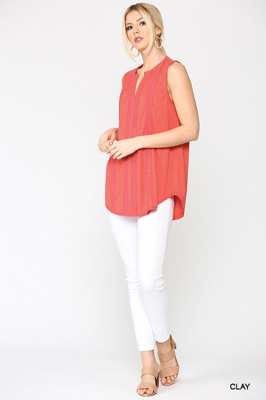 Sleeveless Lace Trim Tunic Top - 3 Colors