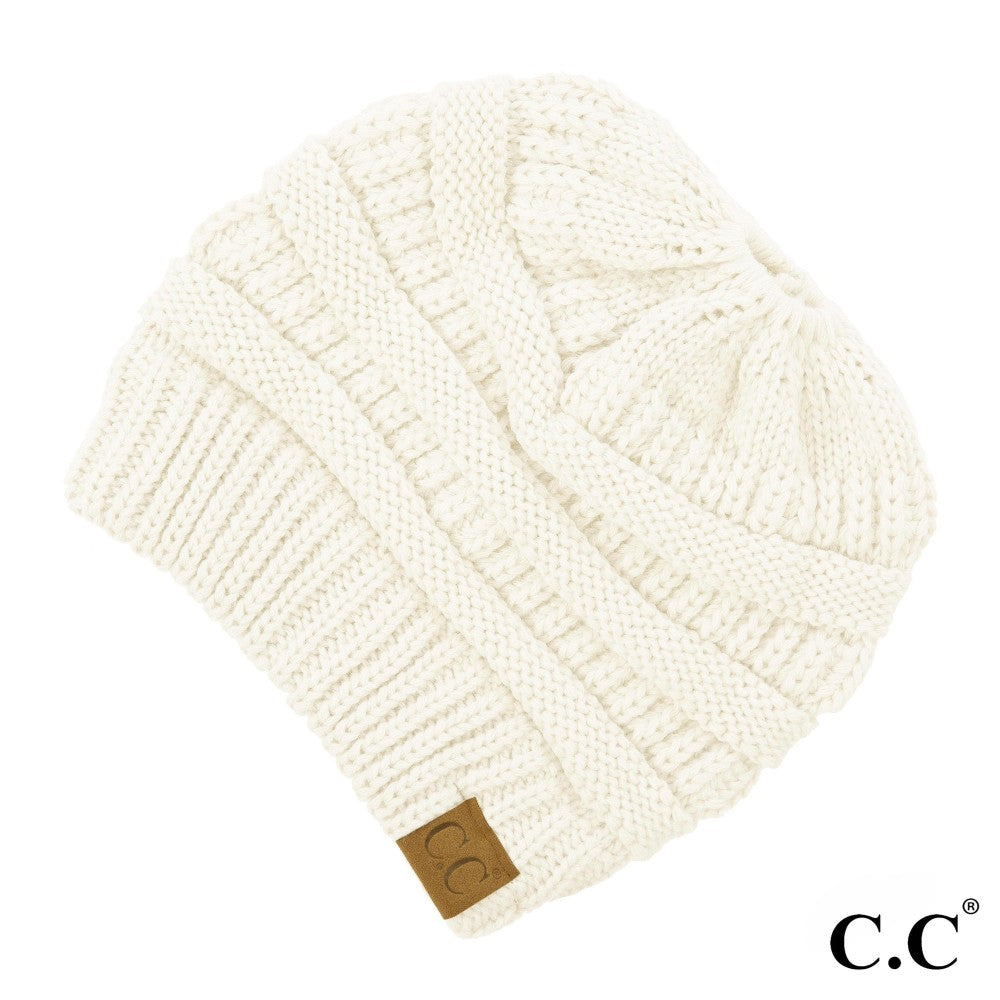 "C.C. Solid Color Beanie ""The Original"" Messy Bun Beanie"
