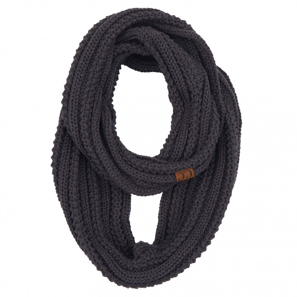 C.C. Solid Ribbed Knit Infinity Scarf