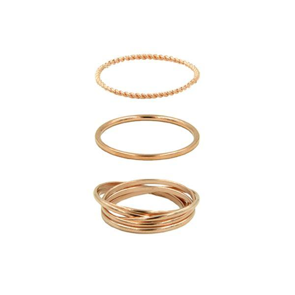 Kinsley Armelle - Goddess Collection - Rose Gold Ring Set