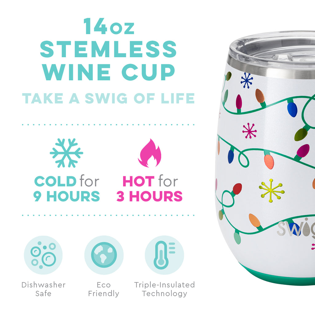 Swig Life 14oz Let It Glow Stemless Wine Cup