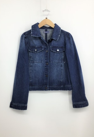 Puff Sleeve Blue Denim Jacket