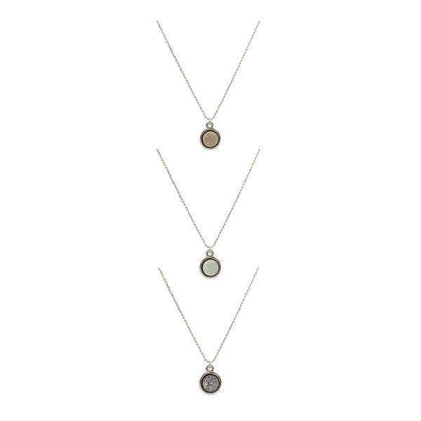 Kinsley Armelle - Stone Collection - Quartz Necklace Set- Silver