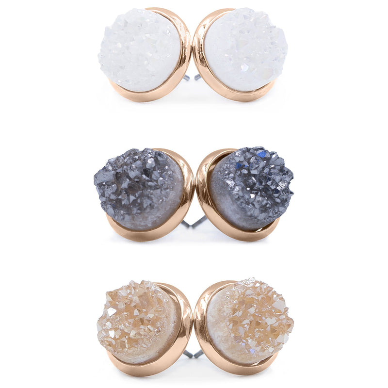 Kinsley Armelle - Stone Collection - Quartz Earring Set- Rose Gold