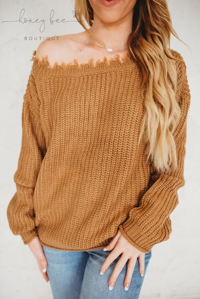 Pumpkin Spice Distressed Sweater