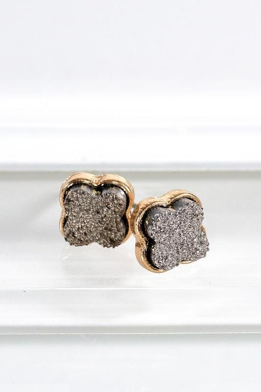 Dainty Clover Druzy Earrings - Hematite - Accessories