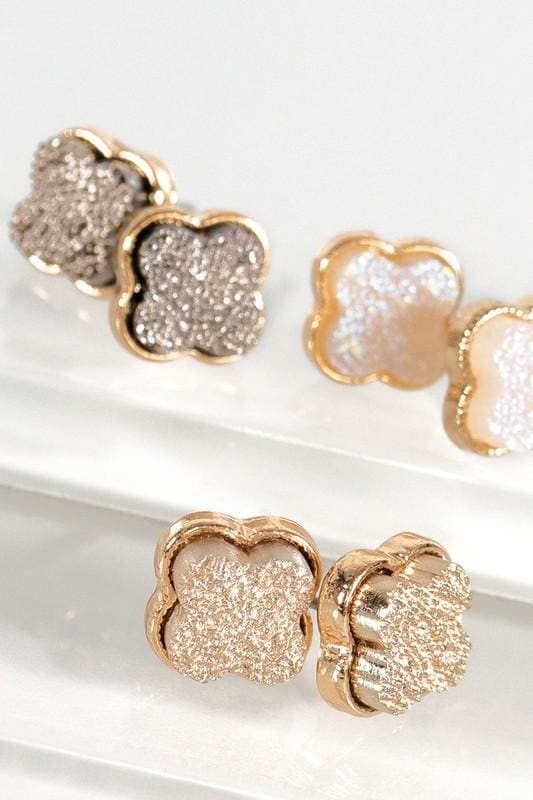 Dainty Clover Druzy Earrings - Accessories