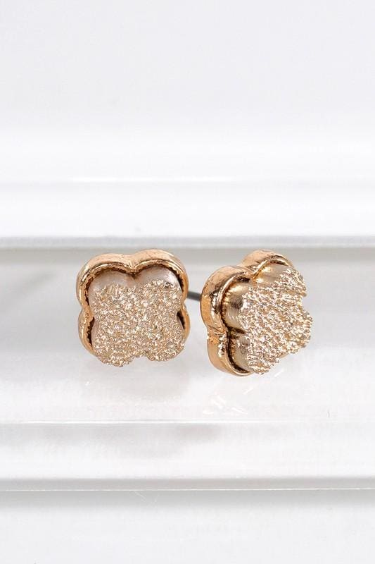 Dainty Clover Druzy Earrings - Rose Gold - Accessories