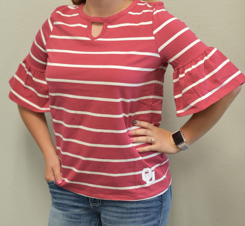 Oklahoma Sooners Go With The Flow Striped Keyhole Ruffle Sleeve Top - Tops