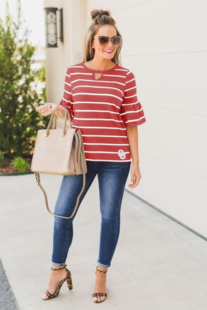Oklahoma Sooners Go With The Flow Striped Keyhole Ruffle Sleeve Top - S - Tops