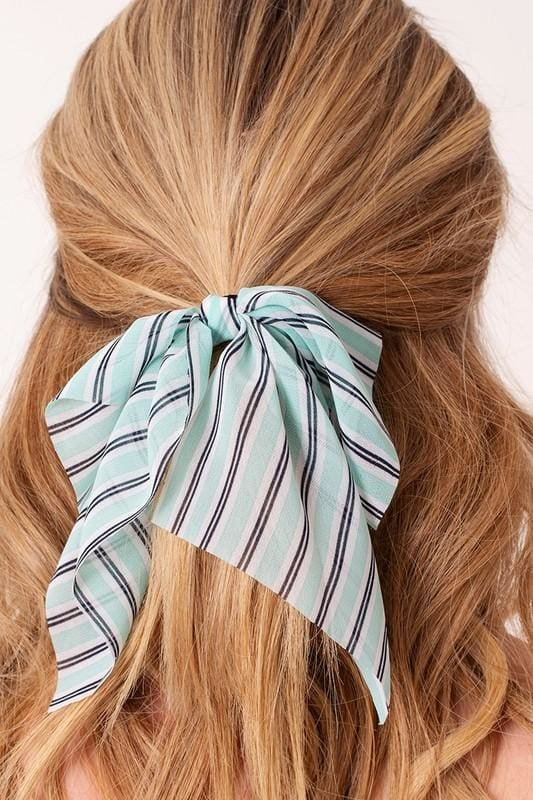 Striped Ribbon Hair Tie - Accessories