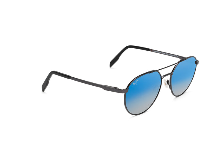 Maui Jim - Waterfront - Dark Gunmetal / Dual Mirror (Blue to Silver over Neutral Grey)