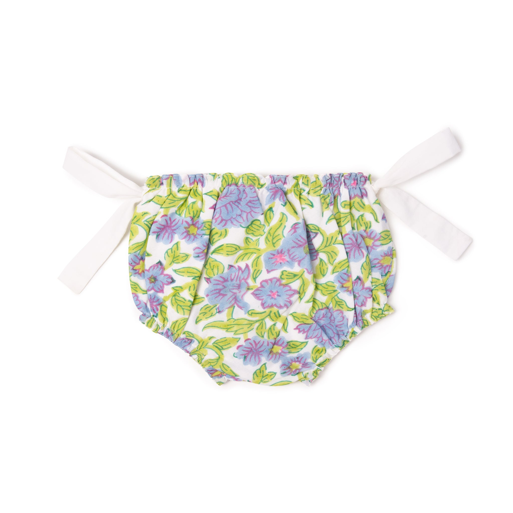 """KNOTTY"" in green and duck blue floral with white bows - Thelmaandleah"