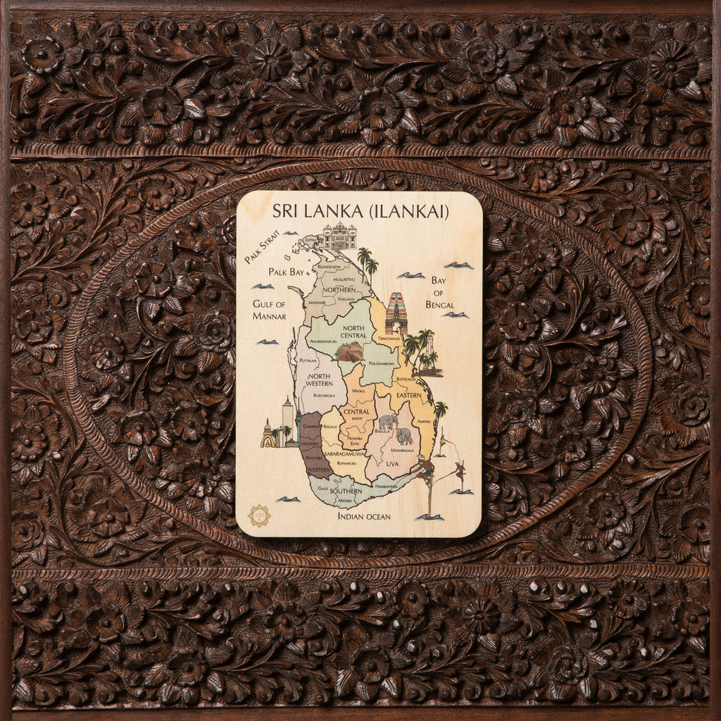 Sri Lanka (Ilankai, Eelam) Country Map Timber Tile + Matching Coloring In Card