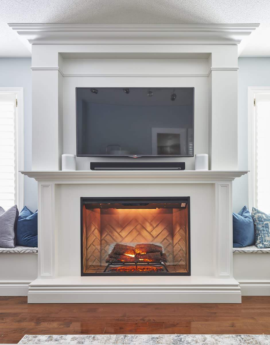 fireplace with window seats