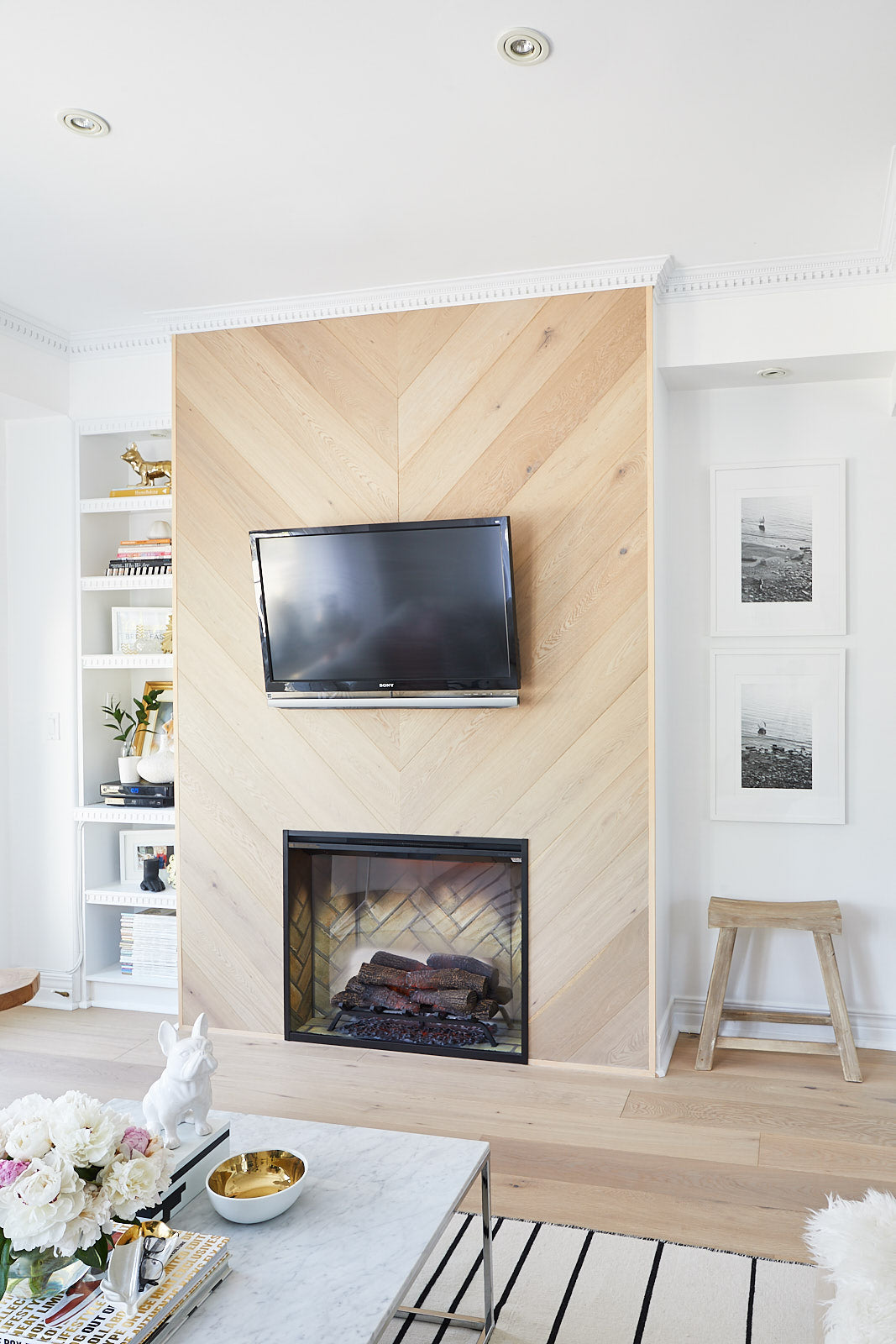 Fireplace wall with TV above