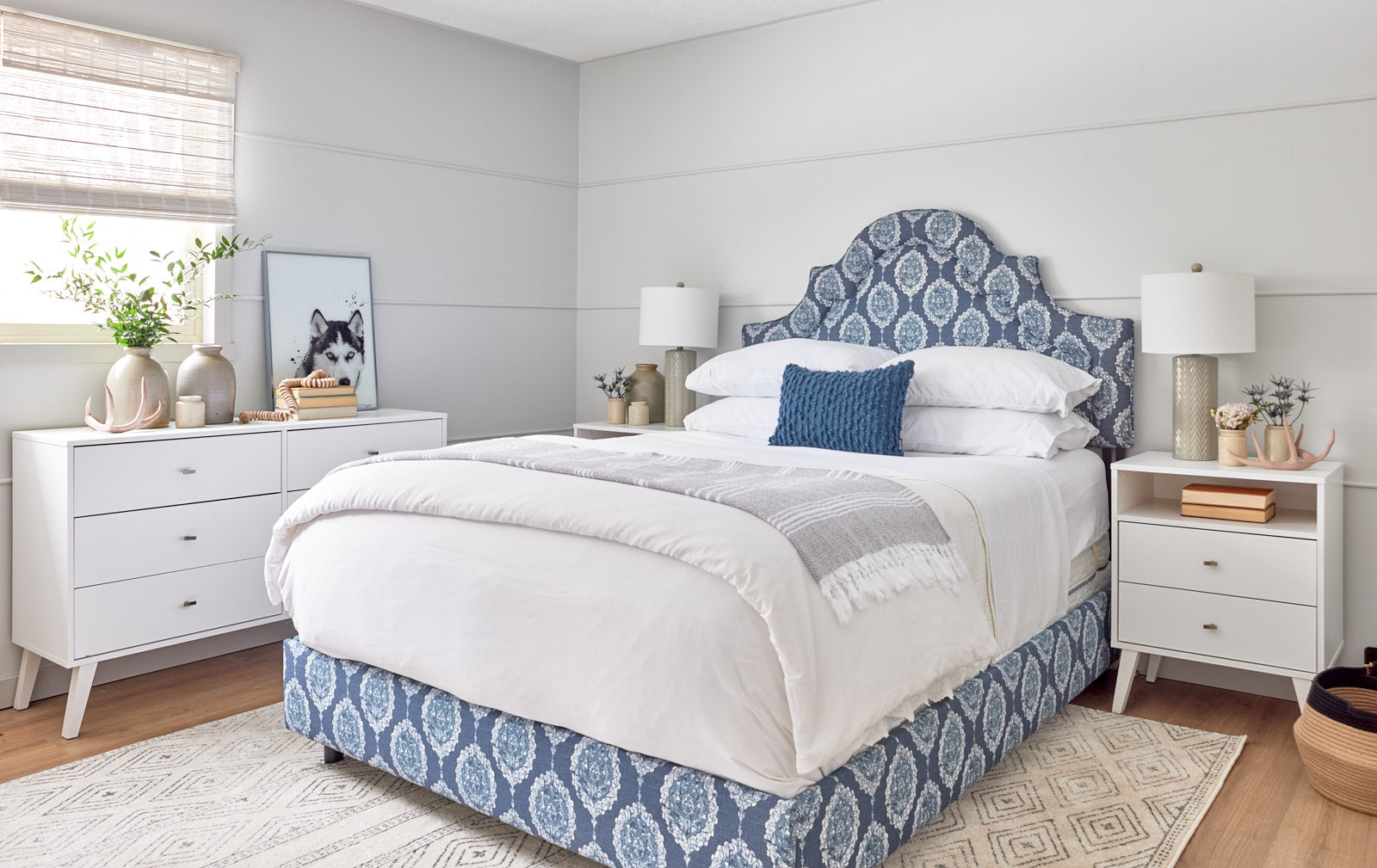 blue master bedroom, home depot, jo alcorn designs