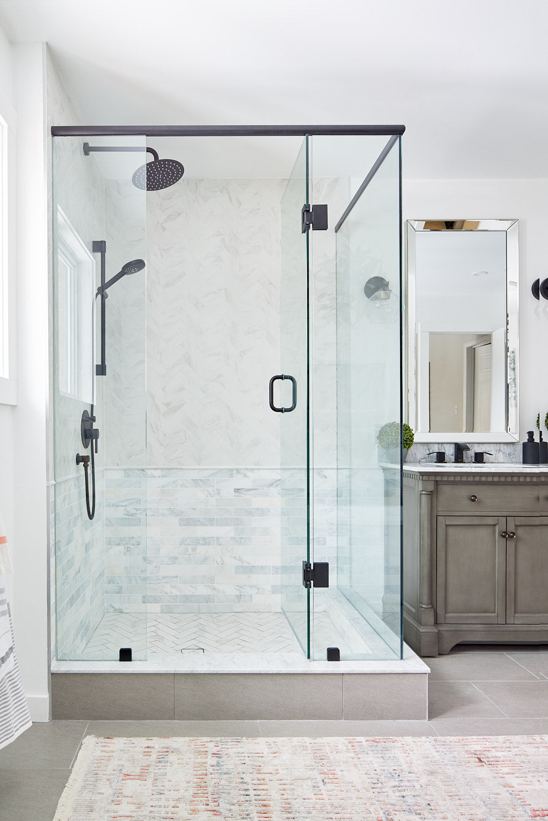 marble shower, jo alcorn designs