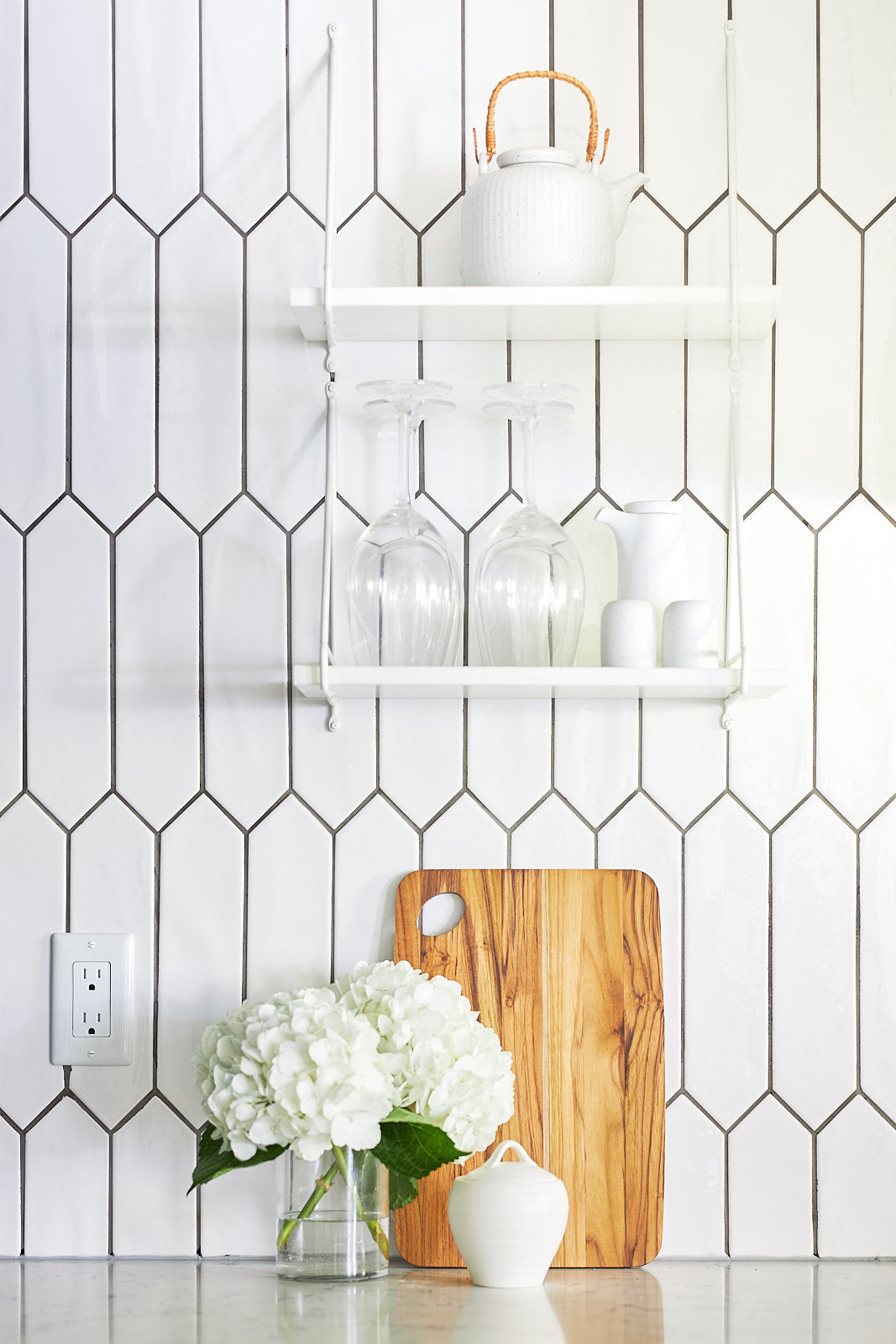 kitchen shelving, tiles wall, jo alcorn