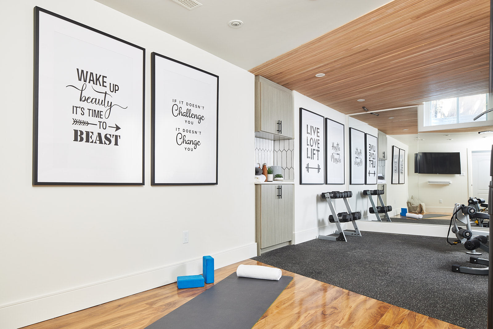 home gym, wood ceiling, jo alcorn