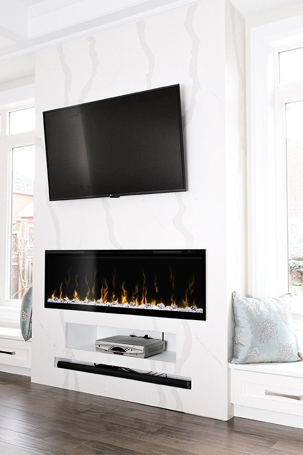 faux marble fireplace with TV above