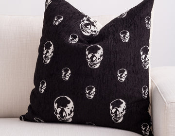 black skull pillow
