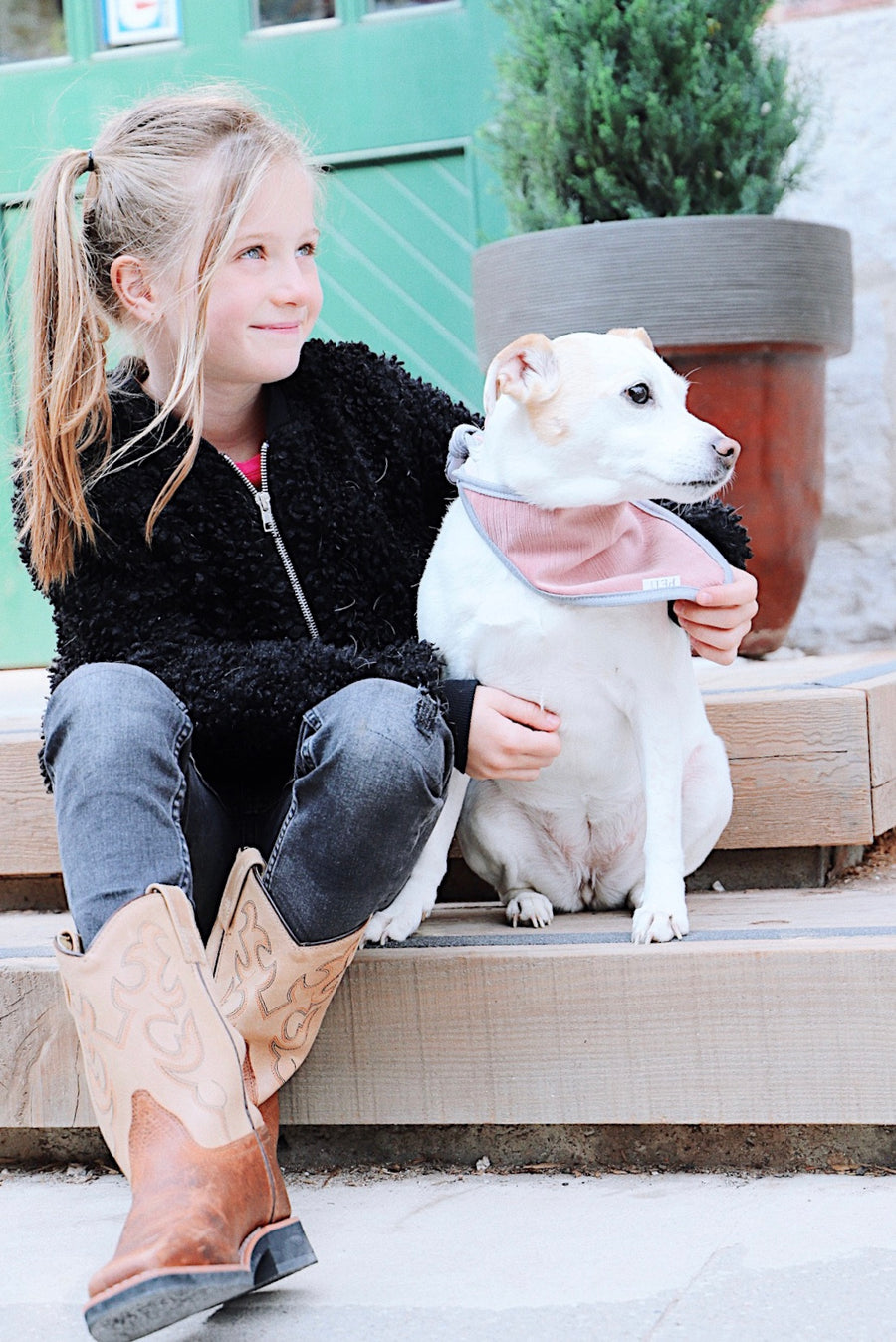 girl and her jack russell dog