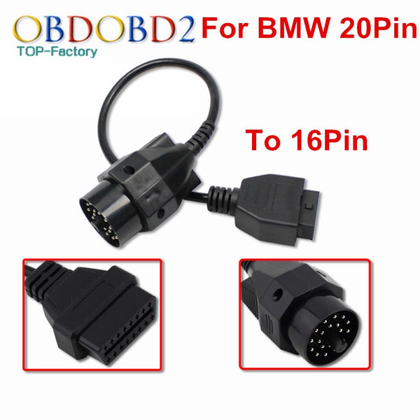 100% Brand New For BMW 20 Pin To OBD2 16 Pin Diagnostic Cable Connector For BMW 20Pin OBD OBDII Adapter For E36 E39 X5 Z3