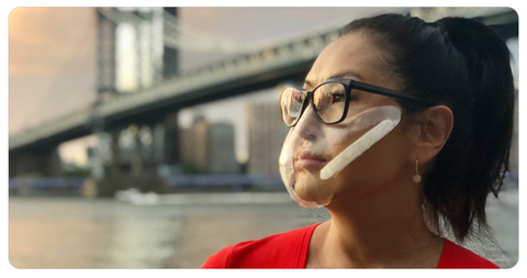 New invention: the SEEUS95 mask, the first transparent self adhering mask with Bio-filters.