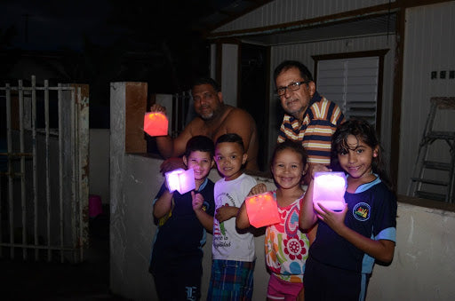 Family with Solight Solar Lanterns