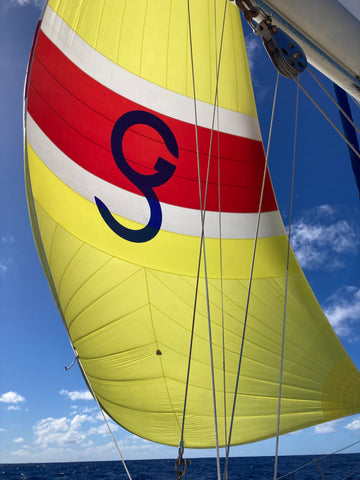 Yellow and Red Spinnaker Sail