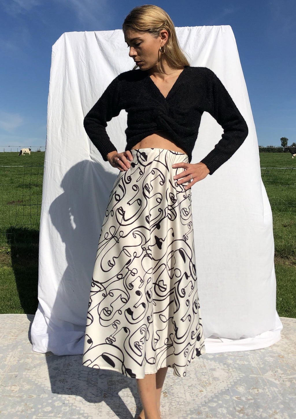 Abstract Print Midi Skirt Irena