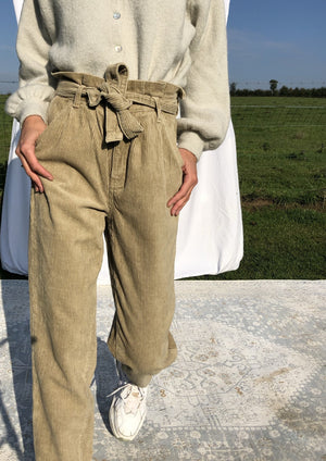 Corduroy High Waisted Trousers - Beige