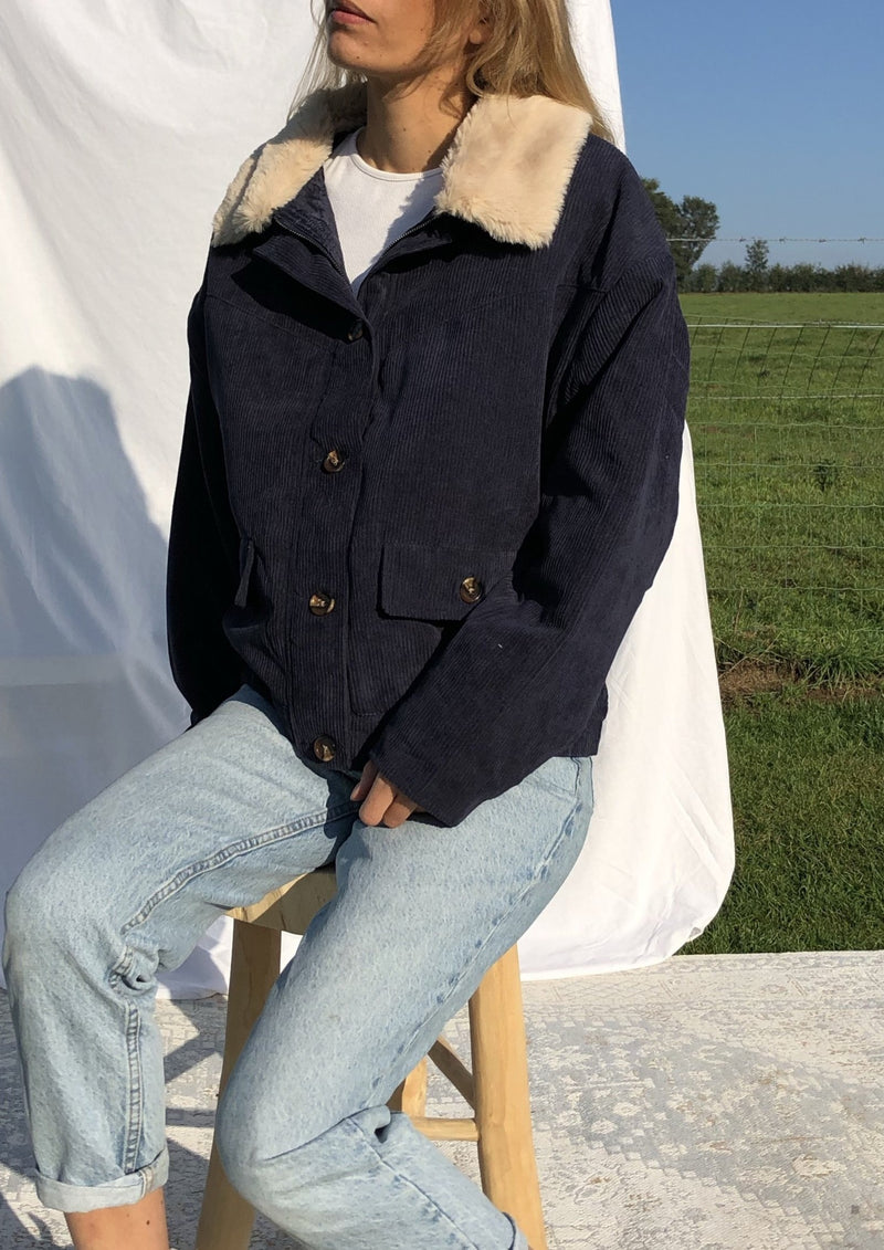Oversized Corduroy Jacket - Blue