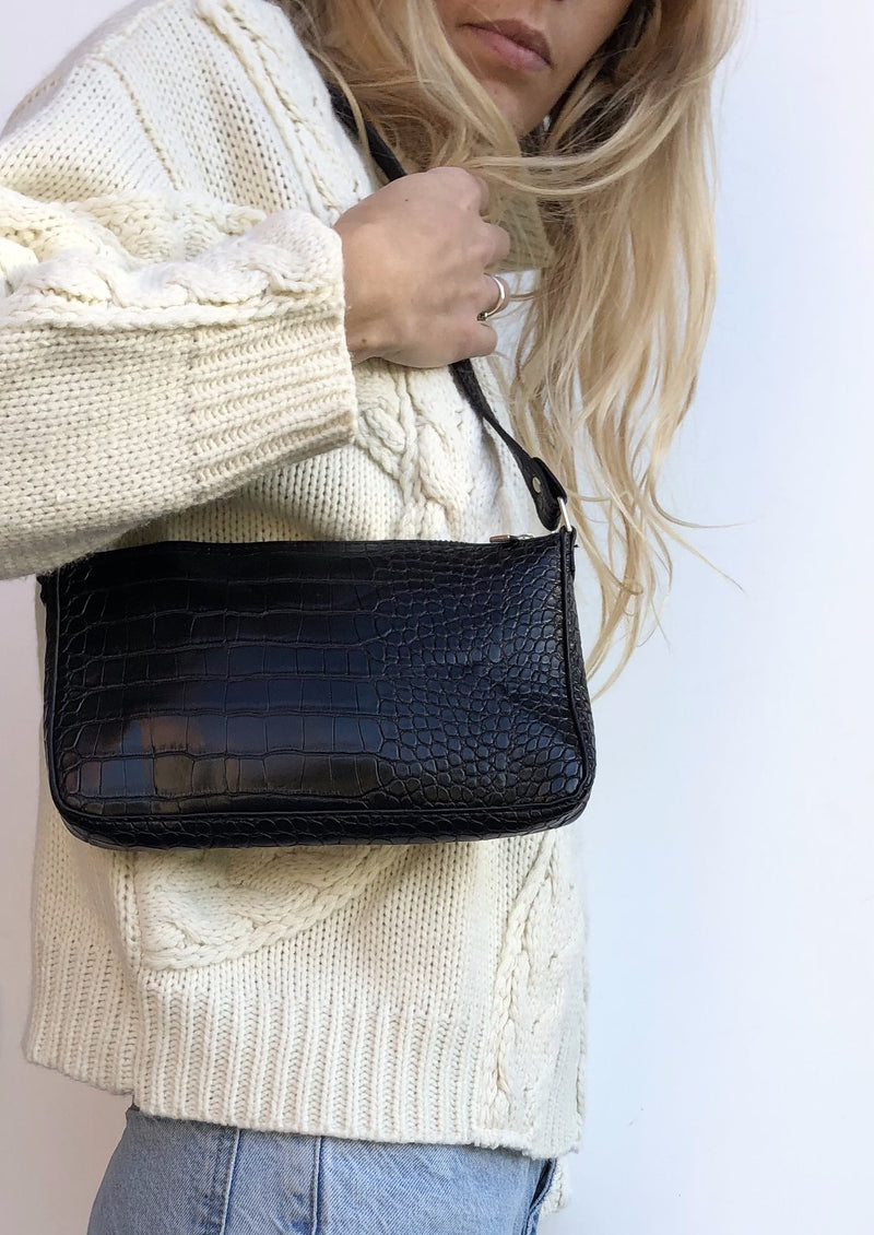 The Croc Shoulder Bag - Black