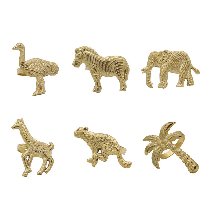Napkin Rings Set 6animals