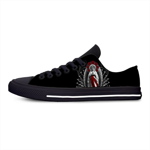 Santa Muerte Holy Death Goth Mexican Skull Horror Casual Cloth Shoes Low Top Lightweight Breathable 3D Print Men Women Sneakers