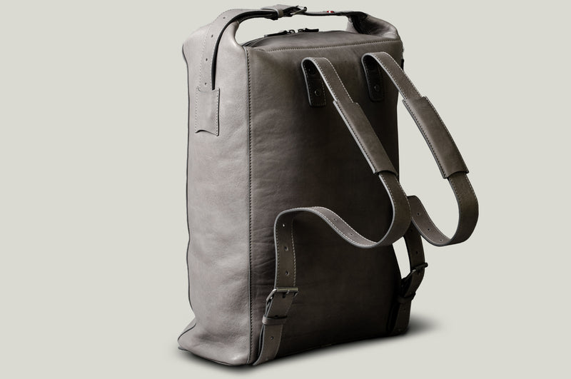 Grey leather backpack