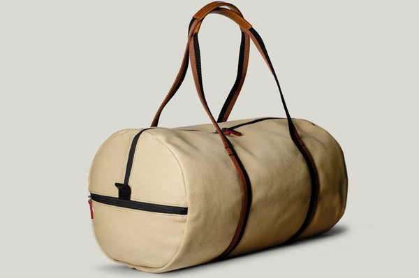 Canvas and leather gym barrel bag