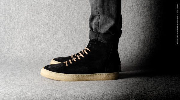 Baseball High Top .  Black Suede