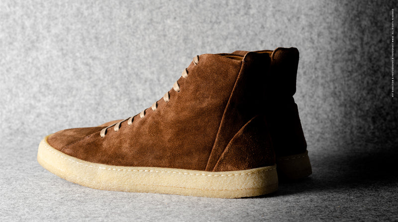 Baseball High Top .  Brown Suede