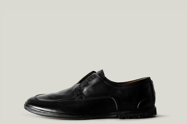 Casual derby shoes black leather