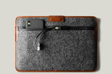 brown leather and wool macbook sleeve