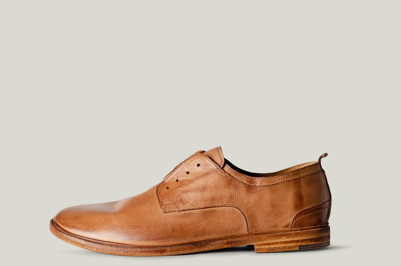 No-Lace Derby Leather Shoe