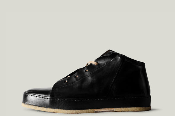 straight side leather mid top boot shoe black