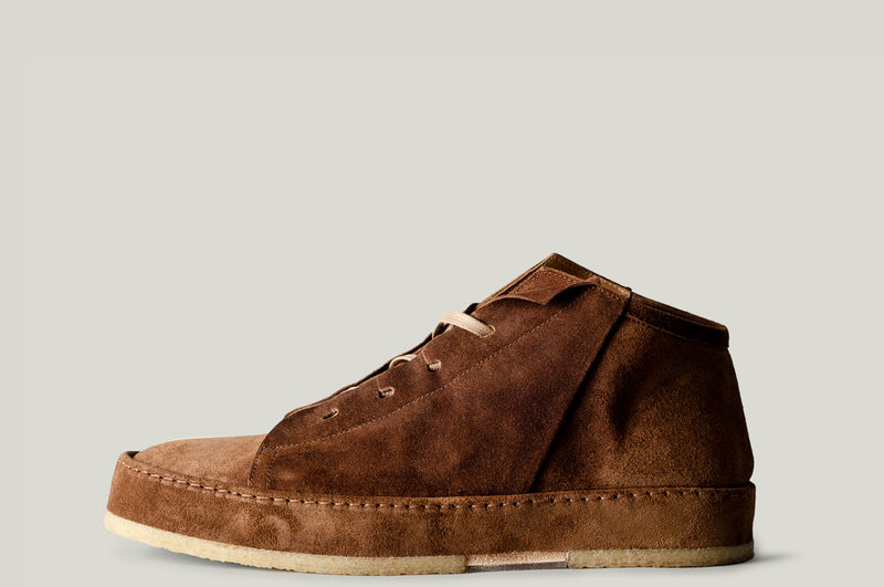 straight side leather mid top boot shoe brown suede