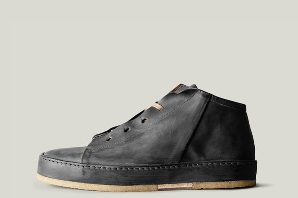 straight side leather mid top boot shoe dusty black